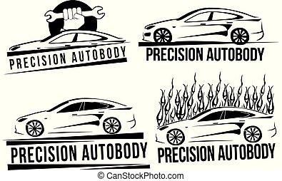 automobile, vettore, set, logos