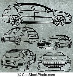 automobile, vettore, set