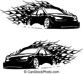 automobile, vettore, silhouette, fiamma