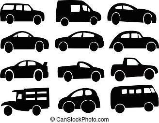 automobile, vettore, silhouette, giocattolo
