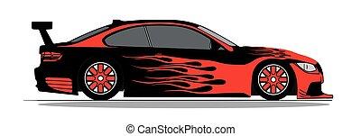 automobile, vettore, sport, fiammeggiante, rosso
