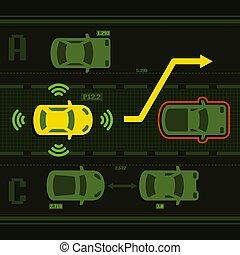 automobile, vettore, strada, far male, traffic.