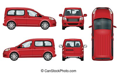 automobile, vettore, template., rosso