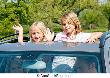automobile, viaggiante, famiglia