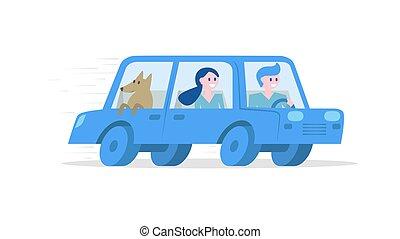 automobile, viaggiante, turisti