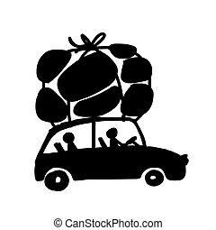 automobile, viaggiare, famiglia, bagaglio