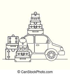 automobile, viaggiare, set, valigie