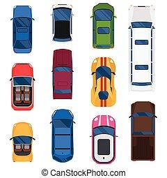 automobile, vista superiore, vettore, set.