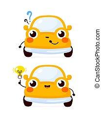 automobile, voiture, question, heureux, mignon, jaune
