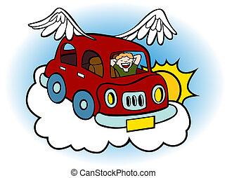 automobile, volare, nuvola