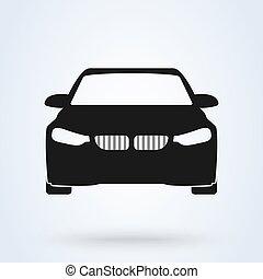 automobile., vue, devant, symbole, icône, voiture, vecteur