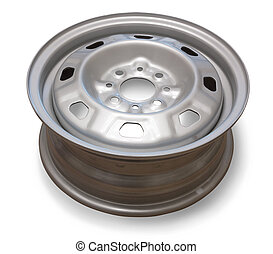 automobile wheel over the white background