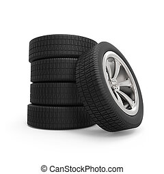 Automobile wheels stack isolated on white background.