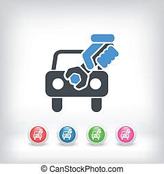 automobilen, assistancen, begreb, ikon