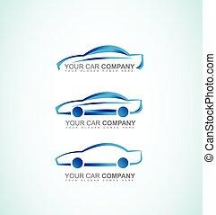automobilen, automobil, logo, ikon, sæt, blå, 3