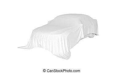 automobilen, belagt, hos, en, hvid, cloth., 3, gengivelse