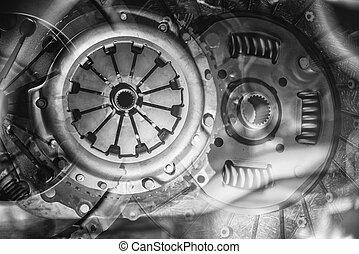 automobilen, clutch, elementer, ind, en, collage