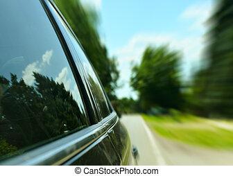 automobilen, drive hurtige, igennem, skov, vej, -, hastighed, begreb