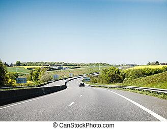 automobilen, drive hurtige, på, fransk, hovedkanalen, montargis