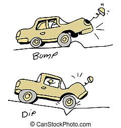 automobilen, finder, bump, og, hullet, ind, vej