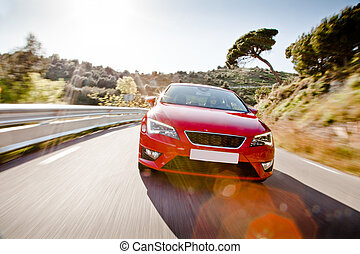 automobilen, fulde, bøje, vej, farefulde