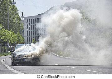 automobilen, gade, brændende