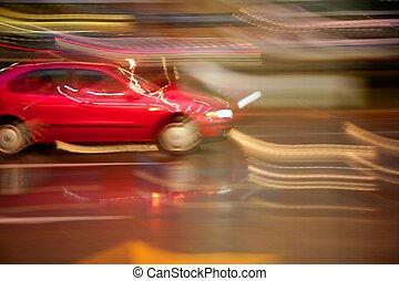 automobilen, gribende, regnfuld nat, motion slør