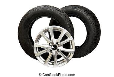 automobilen, hjul, isoleret