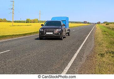 automobilen, hos, anhængeren, ride, på, vej land, langs,...