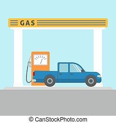 automobilen, hos, den, gas station