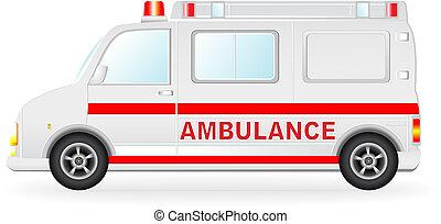 automobilen, hvid, silhuet, ambulance