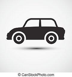 automobilen, icon., automobil, symbol.