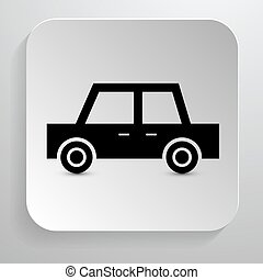 automobilen, icon., vektor, sort, automobil, symbol, på, avis, baggrund.