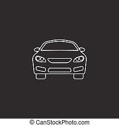 automobilen, ikon, automobil, symbol, vektor, grafik