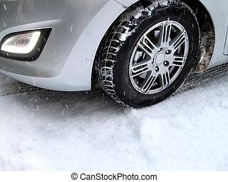 automobilen, ind, vinter