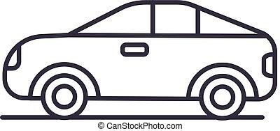 automobilen, køretøj, automobil, vektor, beklæde, ikon, tegn, illustration, baggrund, editable, strokes