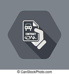 automobilen, kontrakt, ikon