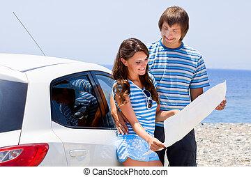 automobilen, par, afrejse, tur