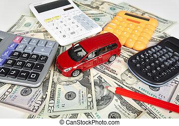 automobilen, penge, og, calculator.