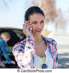 automobilen, problem, kvinde, hidkalde, vej, hjælp