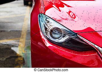 automobilen, regn, gade, forlygter, rød, efter