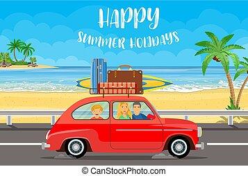 automobilen, rejse, familie, glade