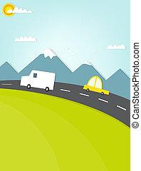 automobilen, rejse, vejen, bjergene