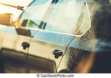 automobilen, rensning, closeup, fotografi