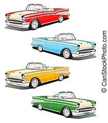 automobilen, sæt, klassisk
