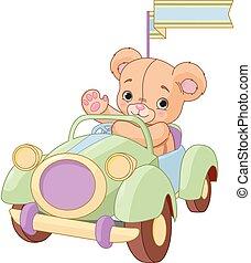 automobilen, siddende, stykke legetøj, bjørn