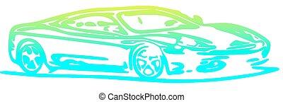 automobilen, silhuet