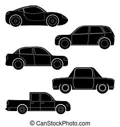 automobilen, silhuetter, sæt