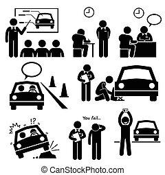 automobilen, skole, licens, kørende