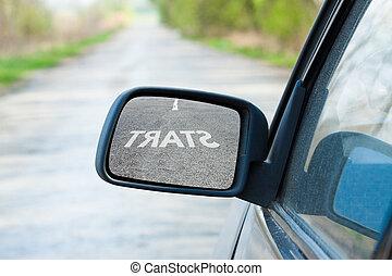 automobilen, spejl., begreb branche